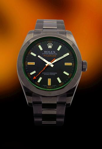 Rolex Stainless Steel Oyster Perpetual Milgauss With Black DLC Case