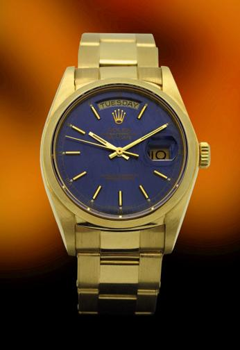 rolex gold exceptional blue dial