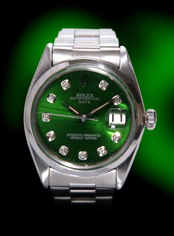 Rolex custom green dial with diamonds