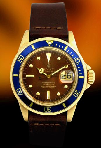 Rolex 1680 Date Submariner 18K gold  brown dial